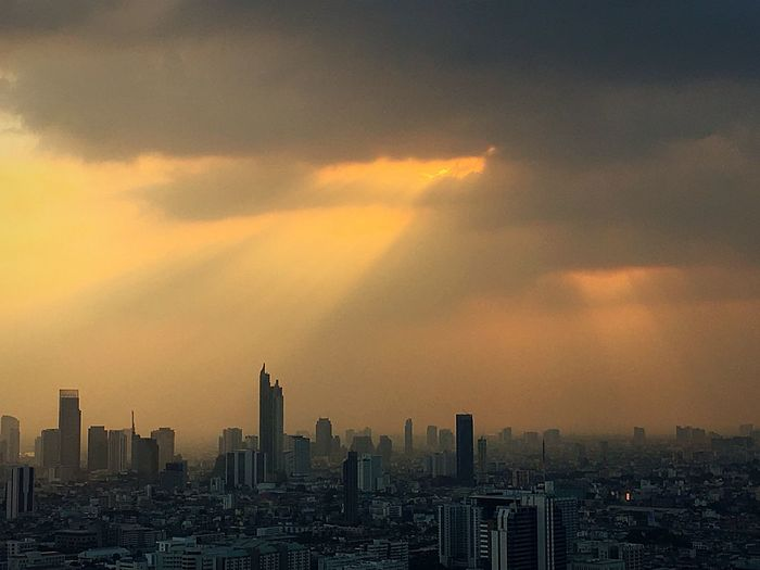 Bangkok Thailand Building Exterior City Architecture Sky Built Structure Building Cloud - Sky Cityscape Office Building Exterior Urban Skyline Sunset Landscape Skyscraper Nature No People Modern City Life Dramatic Sky Outdoors