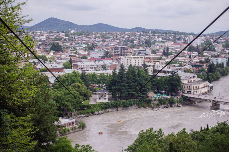 Cable Car City Cityscape Georgia Kutaisi Ropeway Summertime Bridge Cableway City Course Day Mountain No People Outdoors River Summer View From Above Water