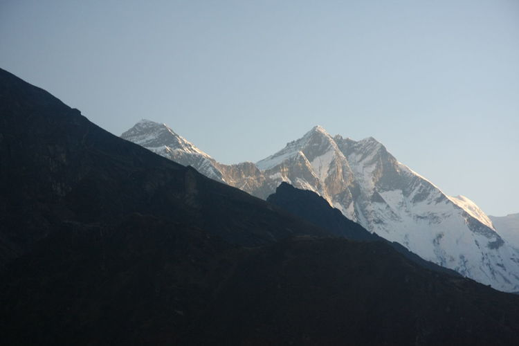 Scenic view of snowcapped mountains against clear sky mt. everest