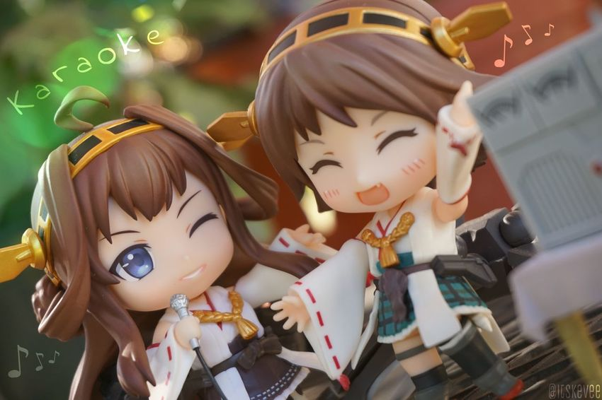 Kongou: Shooo be do bop! Hiei: Wahh I'm singing with Onee-sama 💕 Cute Close-up Colorful 艦コレ Kancolle (null)Anime 艦隊これくしょん Kantaicollection Focus On Foreground Art Creativity ねんどろいど Nendoroid Outdoors (null)Outdoor Photography Toyphotography Still Life Karaoke Hiei Kongou