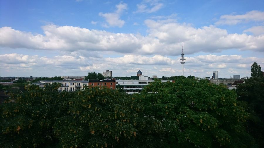 Hamburg summer. · Hamburg Germany Hh Schanze Overview View Great View Roofs Of Hamburg Cityscape Architecture Urban Landscape Heinrich-Hertz-Turm Messeturm Green Clouds And Sky