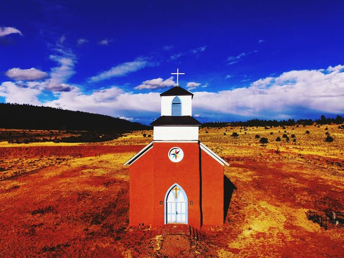 NewmexicoskiesReligion NewMexicoTRUE Newmexicoskys Cross Place Of Worship Newmexicophotography DJI Phantom 3 Tranquil Scene Landscape Architecture Spirituality Rural Scene Clock Time Spirituality Cloud - Sky Weather Vane Clock Face No People Outdoors Astronomy Nature Clock Tower Day