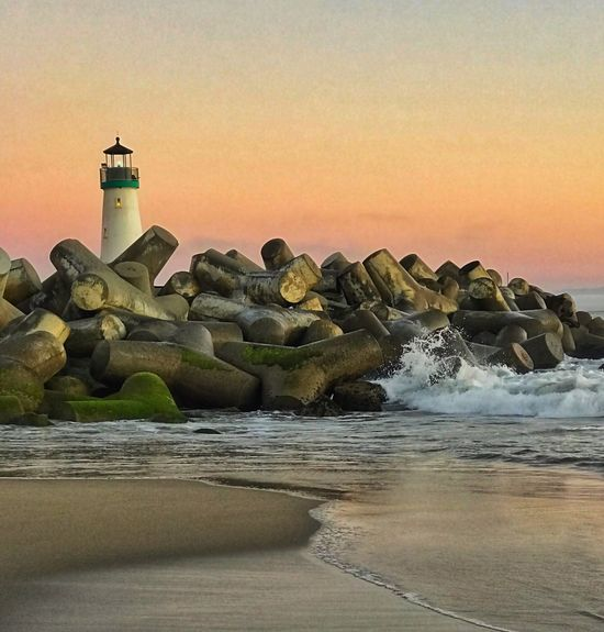 Walden lighthouse close up at sunset in Santa Cruz CA Sea Water Sunset Beach Beauty In Nature No People Waterfront Sky Nature Clear Sky Horizon Over Water Lighthouse Outdoors Day