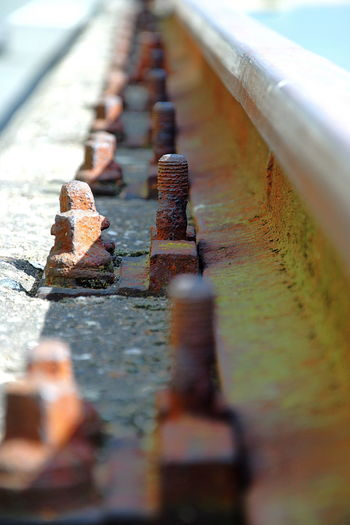 Close-up of old railroad track