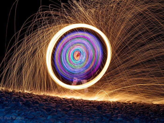 Beach Sonyalpha Sonyphotogallery Samyangfe35mm Camshy Nightscape Longexposure Lightspinning Illuminated Pattern Close-up Light Painting Wire Wool Light Trail Spinning Sparks Long Exposure Glowing
