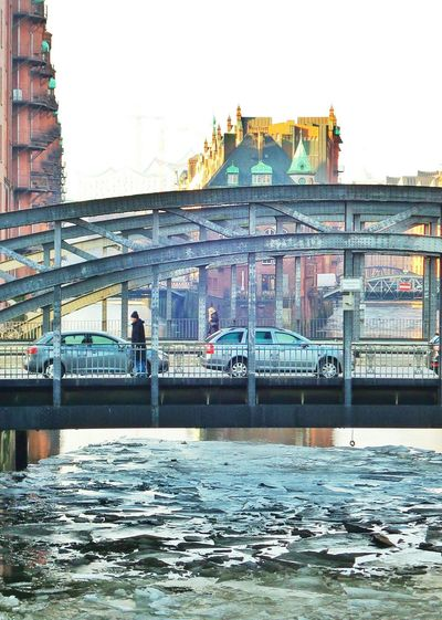 Icy morning in the old warehouse district / Speicherstadt Hamburg Architecture