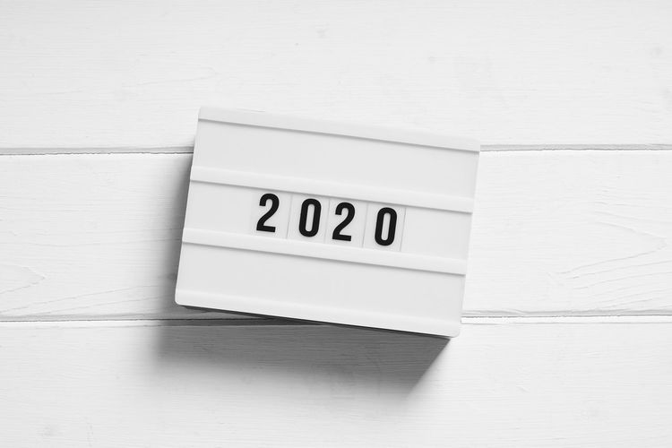 Year 2020 Review Preview New Next Sign Light Box Lightbox Minimalism White Wood Wooden Table Desk Top View Flat Lay End-of-year End-of-the-year Light Box Text Concept Copyspace Copy Space Minimal Simplicity Black And White Display Flat Top View Above Overhead Directly Above Background Bright Shadow Drop Shadow No People White Color Still Life High Angle View