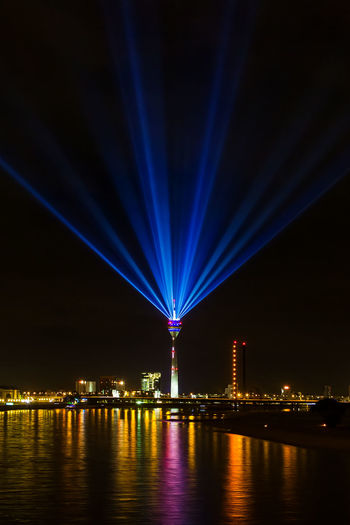 Düsseldorf, Germany Architecture Blue Built Structure City Düsseldorf Fluss Germany Illuminated Multi Colored Night NRW Outdoors Reflection Rhein Rheinkomet Rheinturm  Rhine River Sky Tower Travel Destinations Urban Skyline Water Waterfront