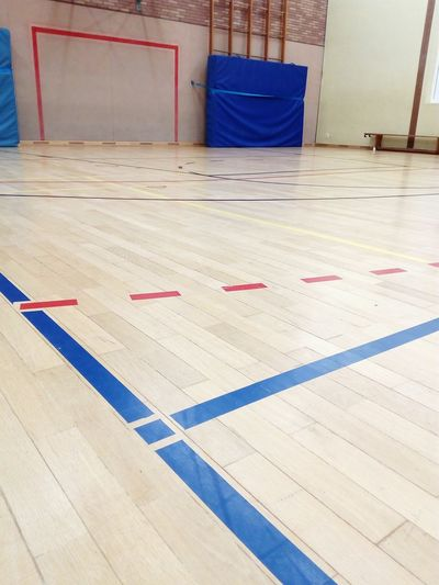 playing field in a gym indoor sports center Gym Sports Center Playing Field LINE Field Line Limit Line Parquet Wooden Paneling Indoor Ball Sports Indoor Sports Goal Indoors  No People Architecture Day