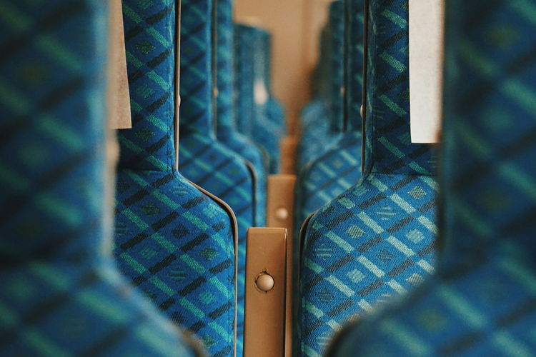 Close up of train seats