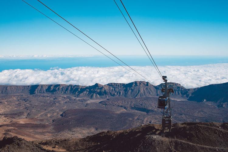 Overhead cable car on mountain against sky