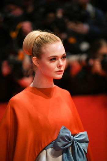 Berlin, Germany - February 15, 2018: American actress Elle Fanning on the red carpet at the 68th Berlinale International Film Festival premiere of the movie Isle Of Dogs Actors Event Fashion Film Festival Premiere Actress Arts Arts Culture And Entertainment Berlinale Berlinale 2018 Berlinale Festival Berlinale2018 Blond Hair Elle Fanning Entertainment Entertainment Event Fashion Fashion Model Fashion Show One Person People Red Carpet Star Testimonial Young Adult