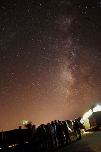 Low angle view of illuminated star field against sky