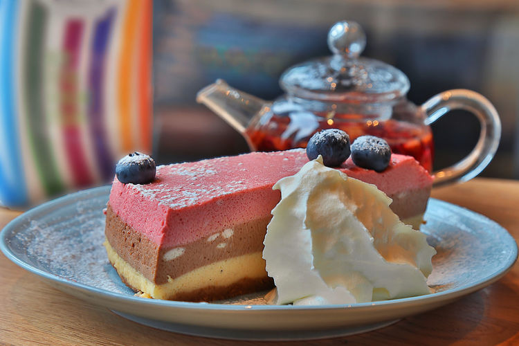 Cheesecake Baked Berry Fruit Cake Dessert Food And Drink Freshness Sweet Sweet Food Tea Time