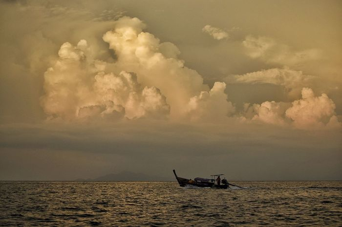 Sunset Dawn Nautical Vessel Silhouette Outdoors Fishing Fisherman Nature Water Sea Day Mammal Sky People
