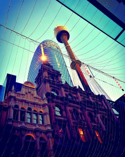 Sydney Tower ~ View from Pitt St Mall Low Angle View Sky Architecture Travel Landmarks Pitt Street In Sydney Attraction