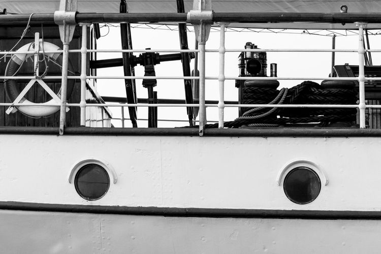 Black And White Day Deck Detail Hull Life Saver Maritime Monochrome Nautical Nautical Vessel No People Outdoors Portrait Ropes Sails Ship Tall Ship Tool Tools Windows