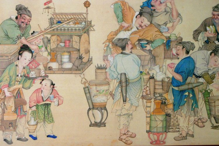 Taipei, Taiwan - silk wall hanging in museum Day Full Length Fun And Games Indoors  Museums Oriental People Silk Wall Hanging Taipei, Taiwan Workmen