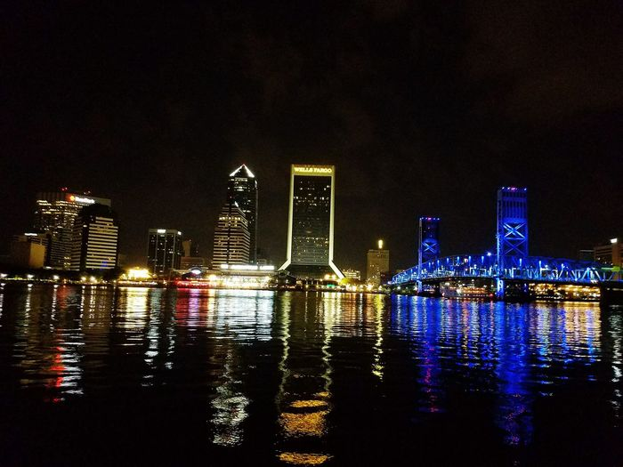 Downtown Jacksonville Jacksonville Florida Skyline Duval  904 Jacksonville JacksonvilleFL Jacksonville Landing Main Street Bridge Blue Bridge Blue Wells Fargo Building Nightphotography Night View Nightlife Night Out Nightshot Night Sky Nightscape Cities At Night Battle Of The Cities