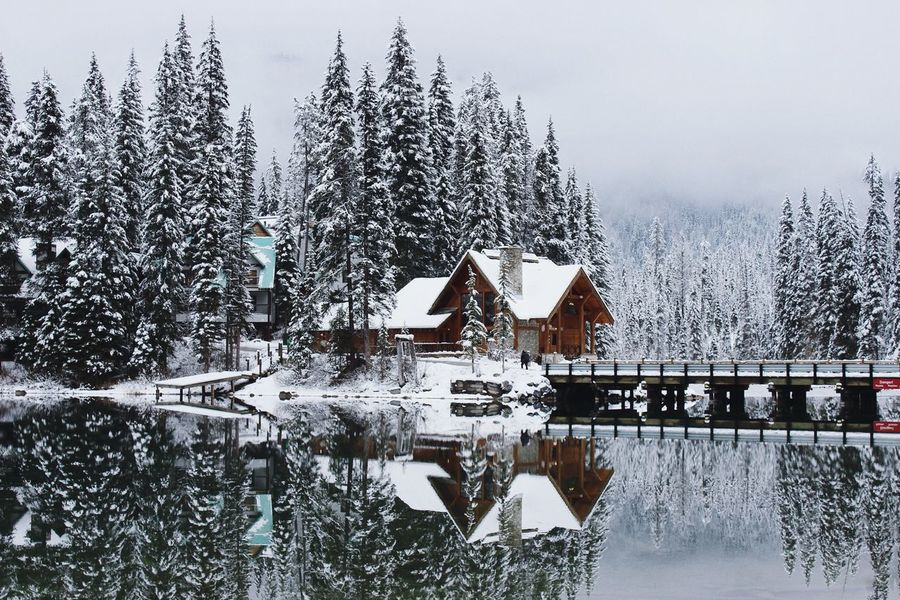 Potential christmas postcard Chistmas Winter Lodge Cabin Island Reflection Water Water Reflections Lake Lake View Bridge Nature Quiet Tranquility Canada Emerald Lake