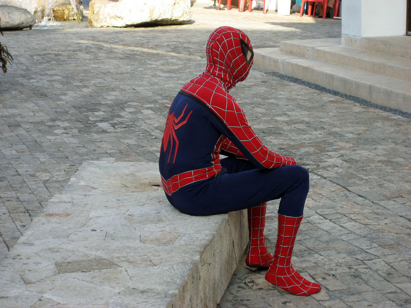 Spiderman Artists Costume One Person Spiderman Street Entertainment Street Fashiion Street Performer Tourist Desinations