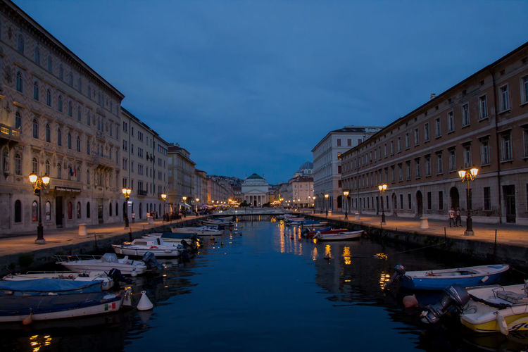 Trieste - Grand Canal at night Trieste Grand Canal Italy Architecture Building Exterior Built Structure Water Illuminated Nautical Vessel City Transportation Sky Nature Reflection Canal Waterfront Building Night No People Outdoors Mode Of Transportation Dusk Moored Italy❤️