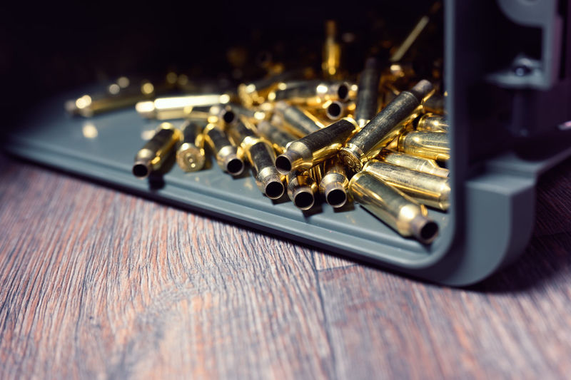 6.5 creedmoor brass shells in ammunition box