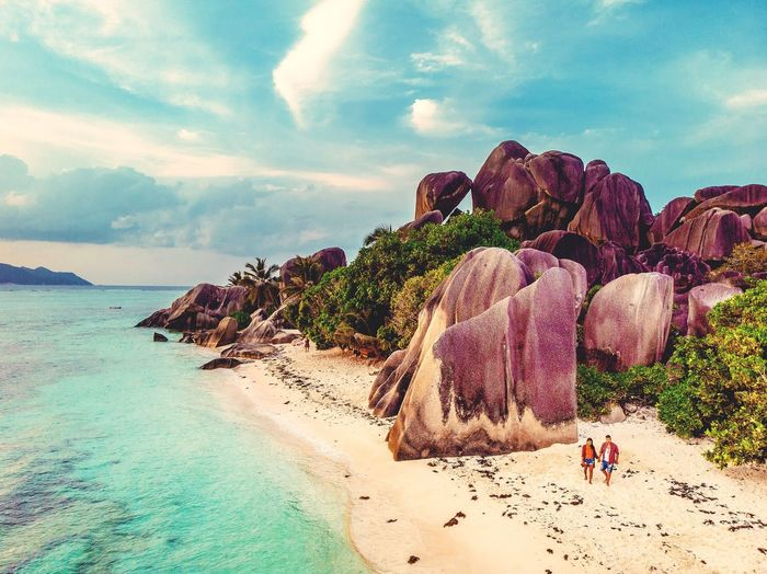 Island La Digue Island Beach Ocean Man Woman White Couples In Love La Digue Seychellen Seychelles Islands Seychelles Women Men Couples Beach Drone  Aerial View Sea Beach Sand Rock - Object Sky Horizon Over Water Landscape Cloud - Sky Rugged Rocky Coastline