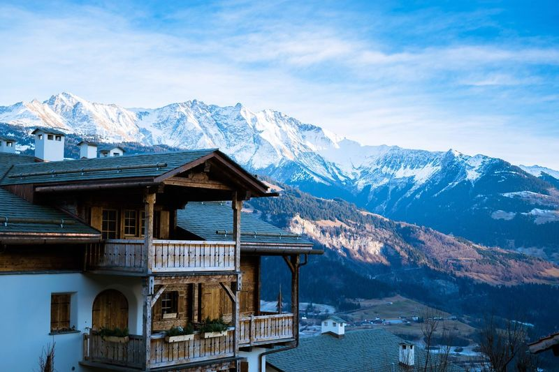 Mountain Blue Sky Nature Winter Landscape Tranquility Outdoors Architecture No People Beauty In Nature Switzerland Swiss Swiss Alps Chalet Scenics Snow First Eyeem Photo