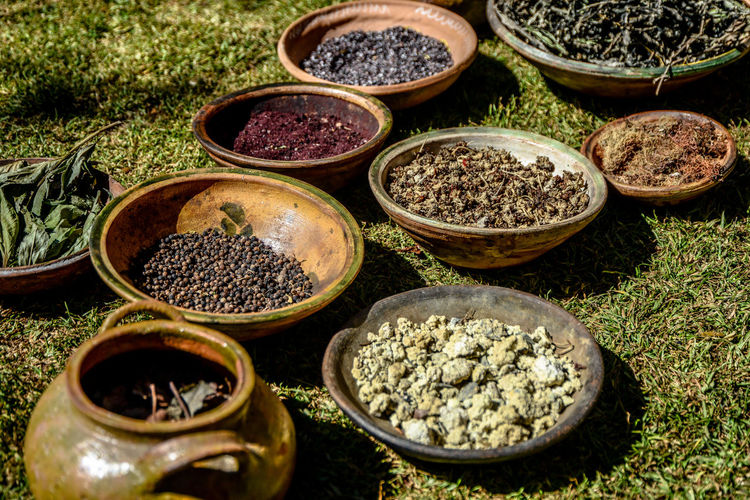 High angle view of various spices in bowls