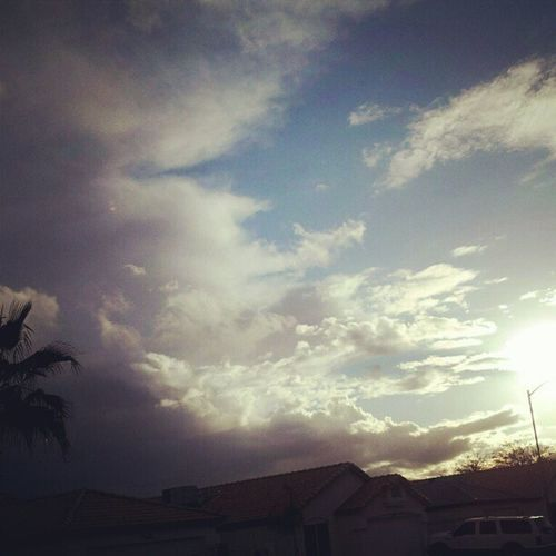 Instagramaz Glendaleaz Desertlivin Horizon Crazycloudcoverage Blueskies Clouds Mountain Sunrise @arizonaskies Sunrisegram Colorful Awesomeclouds Lensflare Palmtrees Epiccloudcoverage Morningtime :)