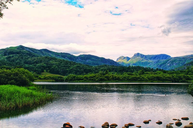 View of lake against mountain range