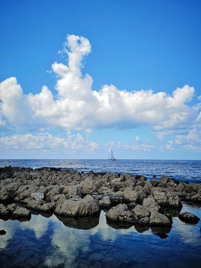 Sailing in Greece Nature Clouds Rocks Epic Shot Photography Game Of Thrones Tourism Tourism In Greece Sea Travel Tourism Magic Greece Water Mirroring Sky Incredible Blue Cloudy Day Sailboat Yacht Sailing Low Tide Sand