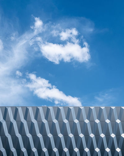 Cloudy Sky Low Angle View No People Outdoors Blue Day Minimalism Minimalist Photography  Fujix_berlin Ralfpollack_fotografie Cloud - Sky Pattern Environmental Conservation In A Row Repetition Architecture Clouds And Sky
