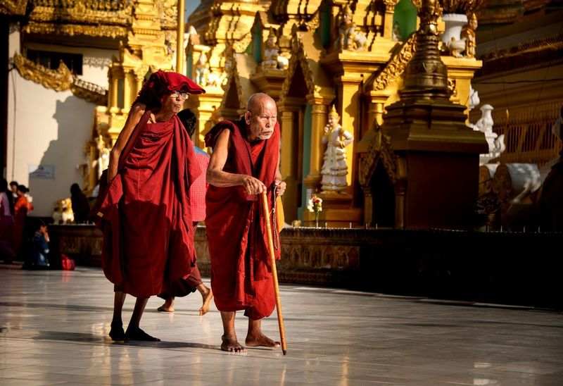 Old monk - Shwedagon Paya - Yangon Travel Photography Travel Yangon Myanmar Walking Pagoda Temple Buddhism Gold Old Monk  Religion Spirituality Full Length Place Of Worship Two People Architecture Real People Men