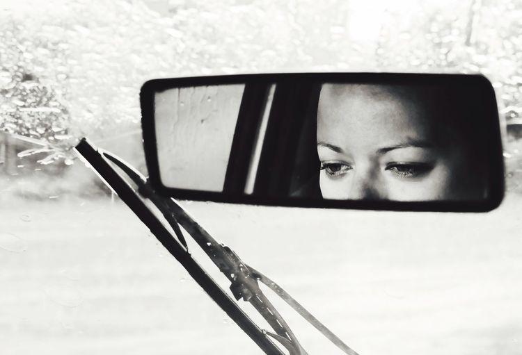 MeinAutomoment Car Rain Close-up Guilty Mirror Driving Rainy Day Woman Blackandwhite