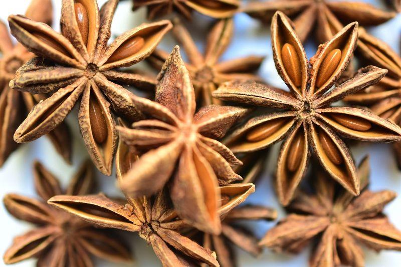 Full frames shot of star anises on table