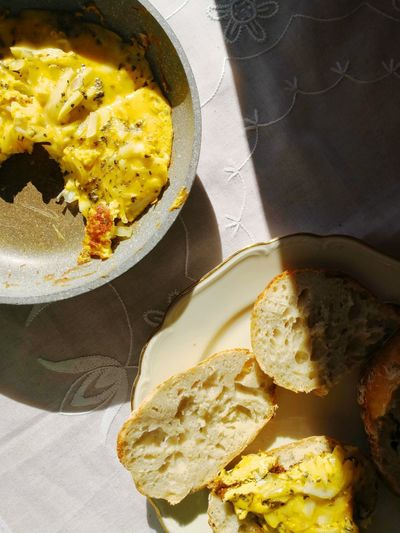 Breakfast Homemade Yellow Bred Sun Inside Yellow High Angle View Close-up Food And Drink Egg Yolk Fried Egg Omelet Egg