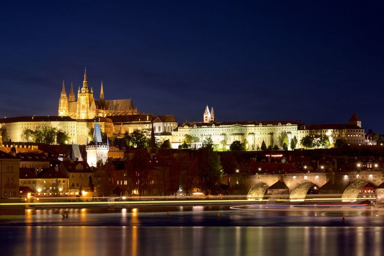 Castle Prague Prague Czech Republic Veltava_river Vltava Architecture City Hradčany Illuminated Long Exposure Night Reflection River Sky Travel Destinations Water