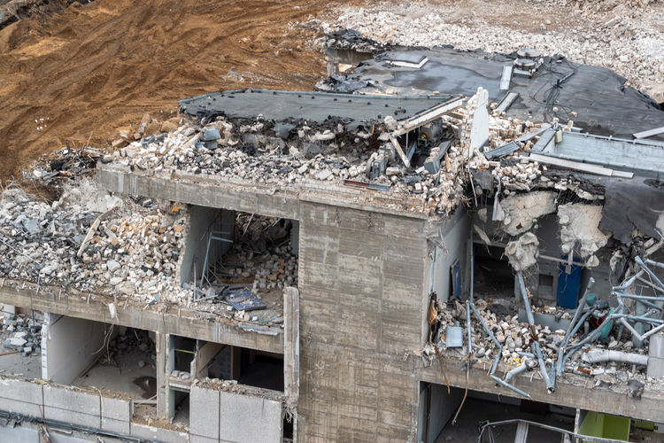 High angle view of damaged building