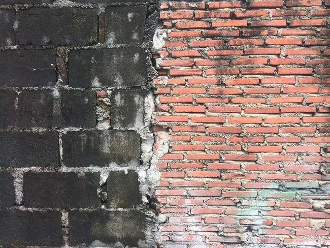 Polluted Full Frame Textured  Pattern No People Backgrounds Brick Built Structure Brick Wall Close-up Wall - Building Feature City Red Weathered Old Wall Outdoors Rough Building Exterior