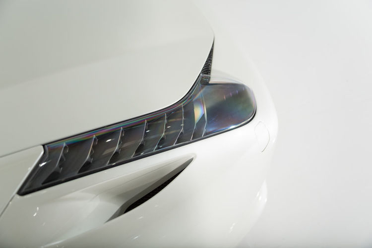 High angle view of car on white background