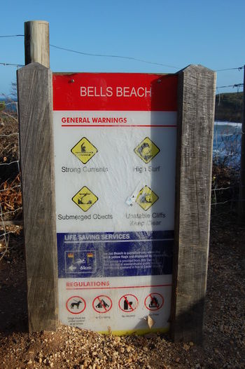 Bells Beach. Australia. Western Script Communication Text Sign No People Day Red Nature Information Sky Information Sign Script Non-western Script Warning Sign Barrier Fence Guidance Outdoors Close-up Boundary Bells Beach Bells Beach Sign Australia