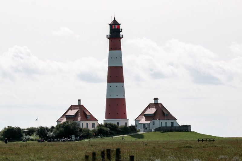 Westerhever Leuchtturm Built Structure Architecture Sky Lighthouse Day No People Building Exterior Outdoors Wadden Sea Northsea Coast Germany🇩🇪 Rural Scene Landscape Tranquil Scene Travel Destinations Westerhever Lighhouse