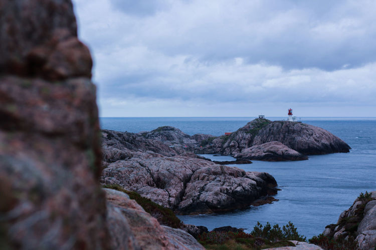 Beauty In Nature Blue Cloud - Sky Day Horizon Over Water Lighthouse Nature Nature No People Norway Outdoors Rock - Object Scenics Sea Sky