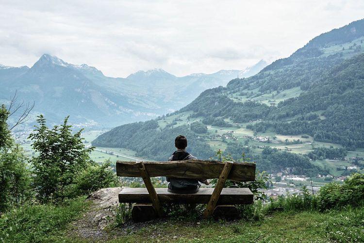The Traveler - 2015 EyeEm Awards EyeEm Life On A Hike Swiss Alps Mountain View Enjoying The View Taking Photos Switzerland Mountains EyeEm Best Shots