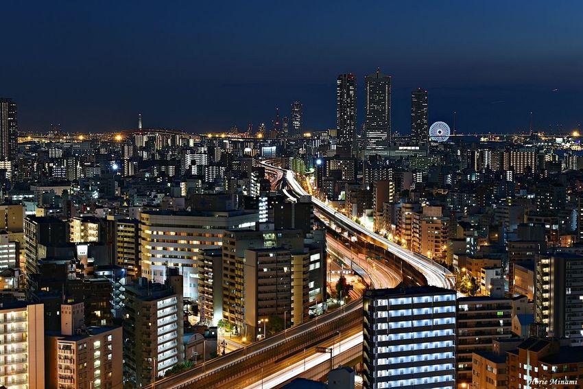 Osaka,Japan Long Exposure EyeEmNewHere EyeEm Gallery EyeEm Selects EyeEm Best Shots Building Exterior Architecture Built Structure City Cityscape Illuminated Night High Angle View