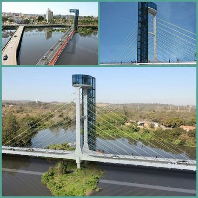 Cable-stayed bridge over the tiete river in Salto city Brazil. Será que vai?