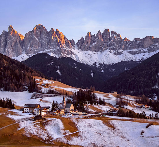 I want to live here. Snow Mountain Mountain Range Mountain Peak Landscape Winter Scenics Day Mountains Trentino Alto Adige Travel Destinations Val Di Funes Südtirol Odle Alto Adige Sunset