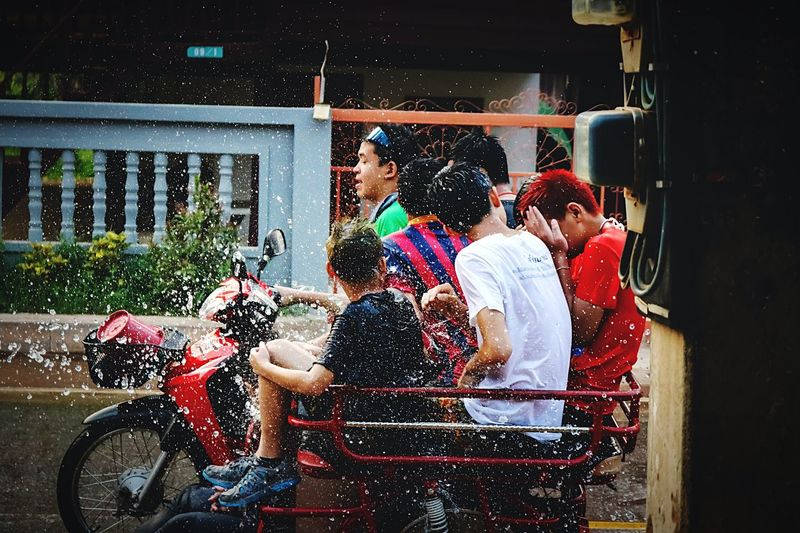 Songkran Festival in Thailand Songkran Festival Songkran Songkran Festival Day Songkran Festival Day SongkranThailand Water Water Play Water Spray Water Fight Water Attraction People Fun Happy People Tricycle My Hometown Countryside Life